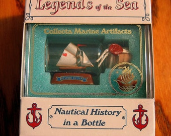 Mini Ship in a Bottle Historic  Coast Guard REVENUE CUTTER New OLD Stock from Art Store 90s