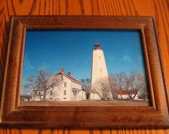 SANDY HOOK LIGHTHOUSE portrait Hardwood Frame Hand Signed by Artist