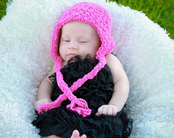 Fuzzy Pink Earflap Hat Newborn Photo Prop