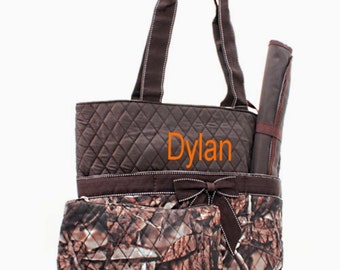 Personalized Diaper Bag Set - Camo and Brown Quilted Diaperbag