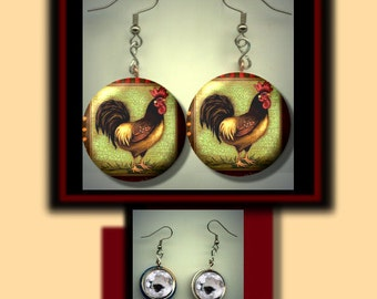 ROOSTER Vintage Green Altered Art Dangle Earrings with Rhinestone