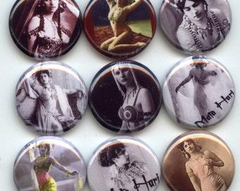 "Mata Hari WW1 Exotic Dancer German Spy 9  Pinback 1"" Buttons Badges Pins"