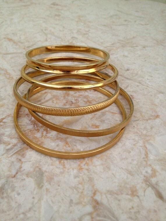Vintage Monet Gold Bangle Bracelets - Set of Five