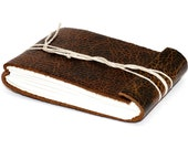 """Leather Journal or Leather Sketchbook, Distressed Brown, Pocket Sized, Handbound Coptic Stitch - 2 3/4"""" x 3 3/4"""""""