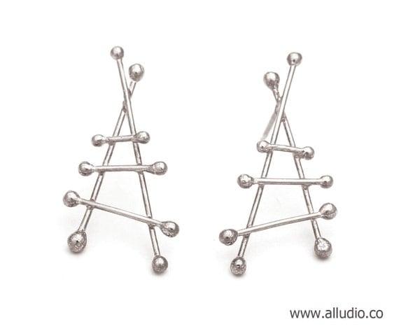ATOMIC sterling silver earring stud / post