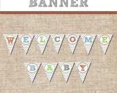 Personalized Baby Shower Chevron BANNER, Printable Circle Party Tags, Favor Tags, DIY, Matching Item