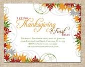 Printable Thanksgiving Invitation, Personalized Digital Design, Customize Colors, DIY