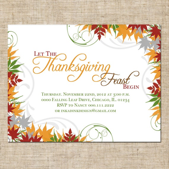 Items similar to Printable Thanksgiving Invitation, Personalized Digital Design, Customize ...