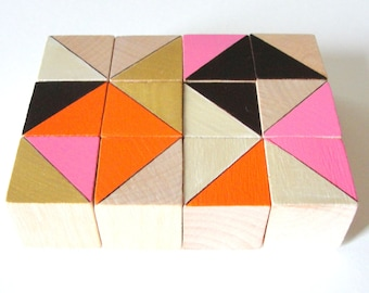 Miami Block Magnets  | |  12 Count Set | | Wooden | | Geometric | | Office and Kitchen Decor | | Orange Pink Gold