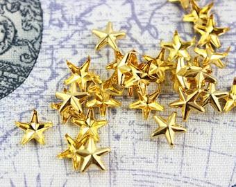 200Pcs 10mm gold STAR Studs Metal Studs (JS10)
