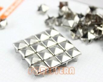 8mm Silver Pyramid Stud Punk Rock Leathercraft Stud (SP08)