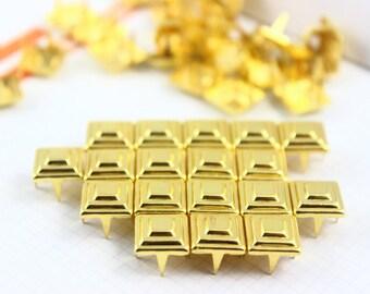 100Pcs 9mm Gold Pyramid Studs Metal Studs (JTT09)