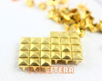 6mm Gold Pyramid Stud Punk Rock Leathercraft Stud (JP06)