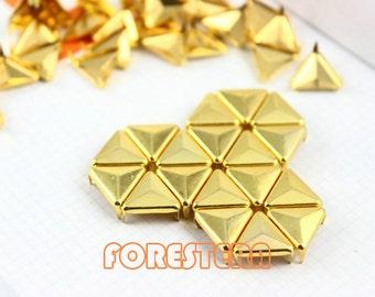 100Pcs 12mm Gold Triangle Studs Metal Studs (JT12)