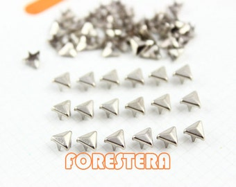50Pcs 5mm Silver Triangle Studs Small Metal Studs (ST05)