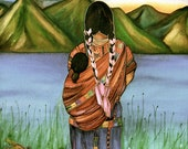 mother and child in guatemala  art print  watercolor