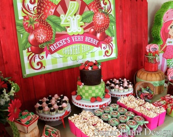 Strawberry Birthday Party Custom Sign - DIY Printable - Do-It-Yourself - Very Berry Birthday Party