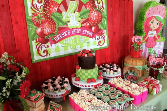 Strawberry Birthday Party Custom Sign DIY Printable