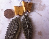 yellow butterfly earrings with bronze leaves