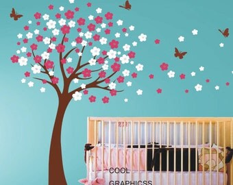 Cherry Blossom Tree - Vinyl wall decals trees wall decals nursery wall decals baby girl children wall decals  white  pink flowers butterfly