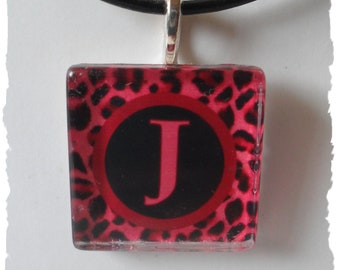 Hot PInk Leopard Print   Initial Glass   Pendant  Necklace