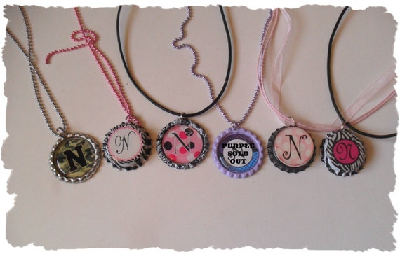 Your Choice Of Initial N  Bottlecap Necklace Pick your Style