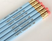 i write therefore i am 6 six pack in baby blue. back to school supplies.