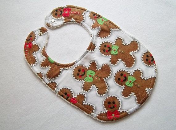 Gingerbread Man print bib. Ready to ship