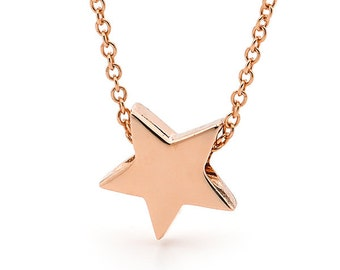 Star Necklace, Small Baby Rose Gold Star Pendant on a Rose Gold cable chain