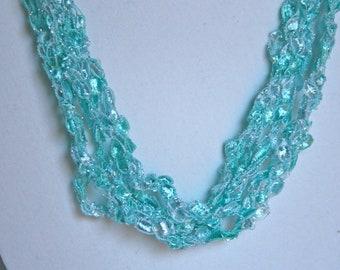 Aqua Ice - Crocheted Necklace