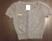 Up-Cycled Vintage Style Angora Cardigan with Fox