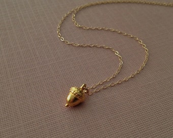 Gold Acorn Necklace -Acorn Necklace in Gold  -Gold Acorn Jewelry