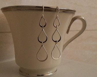 Silver Long Teardrop Earrings -Long Silver Earrings -Sterling Silver Long Earrings