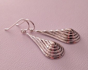 Silver Drops Earrings in Brass with Sterling Ear Wires -Silver Drop Earrings