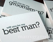 Will You Be My Groomsman Card, Best Man, Usher, Ring Bearer - Simple Way for Guys to Ask Groomsmen, Wedding Party Cards (Set of 8)