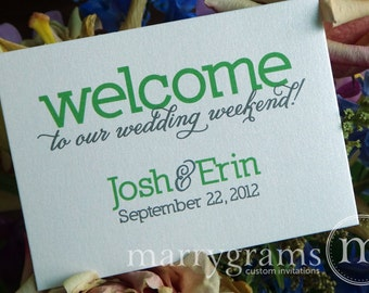 Welcome Wedding Weekend Card - Perfect for Hotel Baskets and Out of Town Guest Packets - Customize Colors - Green, Lime