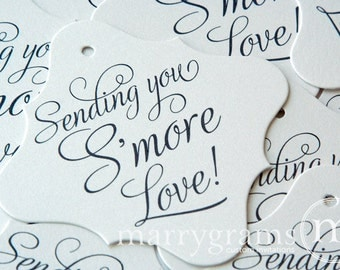Wedding Favor Tags - Sending You S'more Love Tags -  Perfect for Smores - Smores Tag Dessert Tags (Set of 24)
