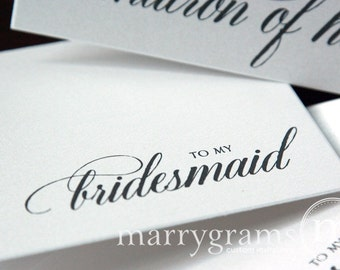 To My Bridesmaid Card, Maid of Honor, Flower Girl- Wedding Party - Wedding Thank You Cards Gift for Bridal Party (Set of 4) CS04