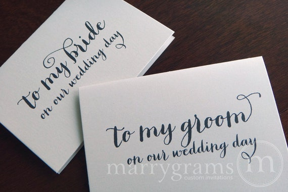 Wedding Card to Your Bride or Groom on Your (Our) Wedding Day - To My Groom / Bride Love Note Before the Ceremony Card CS02