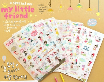Deco Translucent Sticker Set - My little friend - 6 sheets