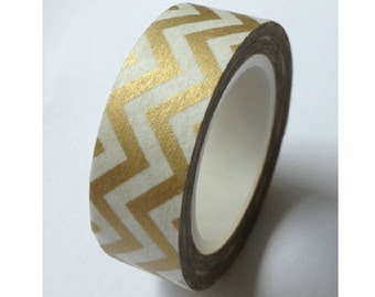 Gold Zig Zag - Japanese Washi Masking Tape - 11 yards