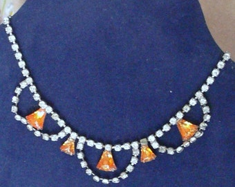 Hand painted rhinestone  necklace