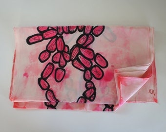 Vintage Tribal Pink Black and White Scarf