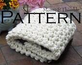 "Chunky Photo Prop Baby Blanket Beginner Crochet PATTERN 24"" x 21""/(61 x 53) cm - PDF 2421"