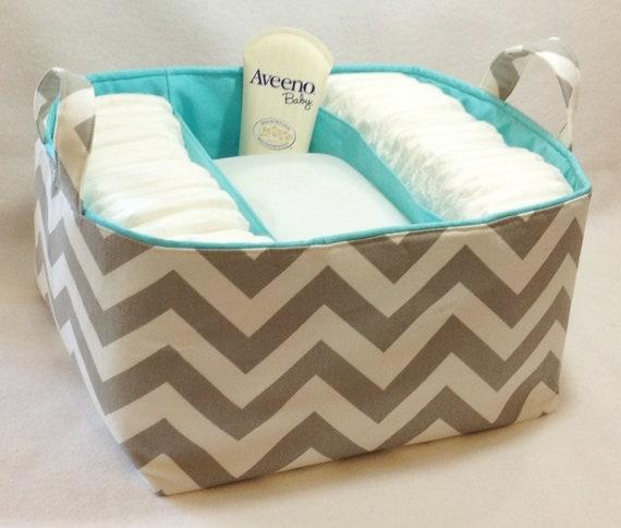 "Reserved for Lauren: XL Diaper Caddy 13""x11""x7"" Fabric Bin, Fabric Storage Organizer, Basket Grey/White Chevron with Aqua Lining"