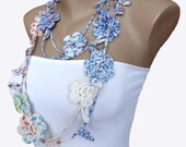 Hand Crochet Lariat Scarf ,Crochet Multicolor Flower Necklace, Winter Necklace, Winter Fashion, Crochet Jewelry