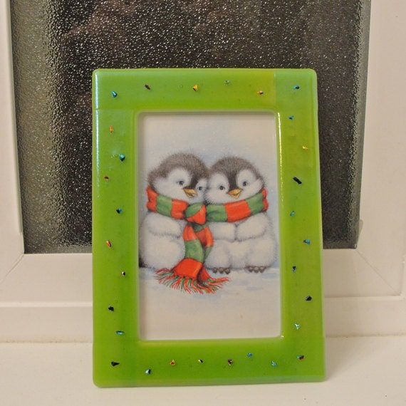 4 x 6 Fused Glass Picture Frame with Dichroic Glass Accents - Green Photo Frame Home Decor