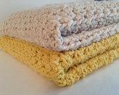 ORGANIC Chunky Cotton Blanket Afghan (ONE) Natural or Yellow Infant Toddler Baby