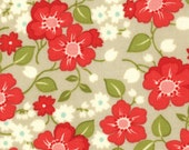 CLEARANCE - Tan and Red Floral Fabric - Marmalade by Bonnie and Camille from Moda One Yard