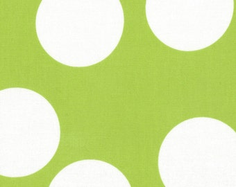 Lime Green and White Large Polka Dot Patterned Fabric - Half Moon Modern by Moda 1 Yard